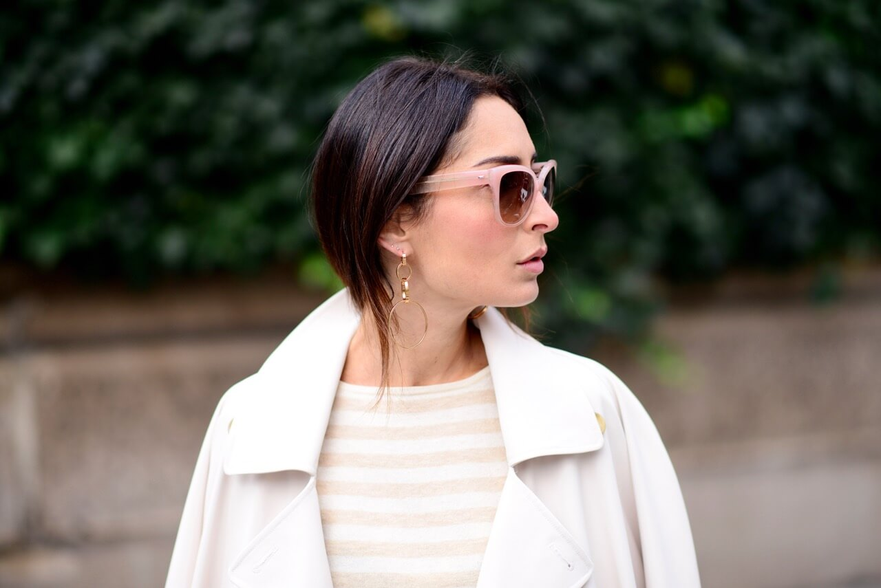 Winter whites Nanushka trench coat | Erin Off Duty
